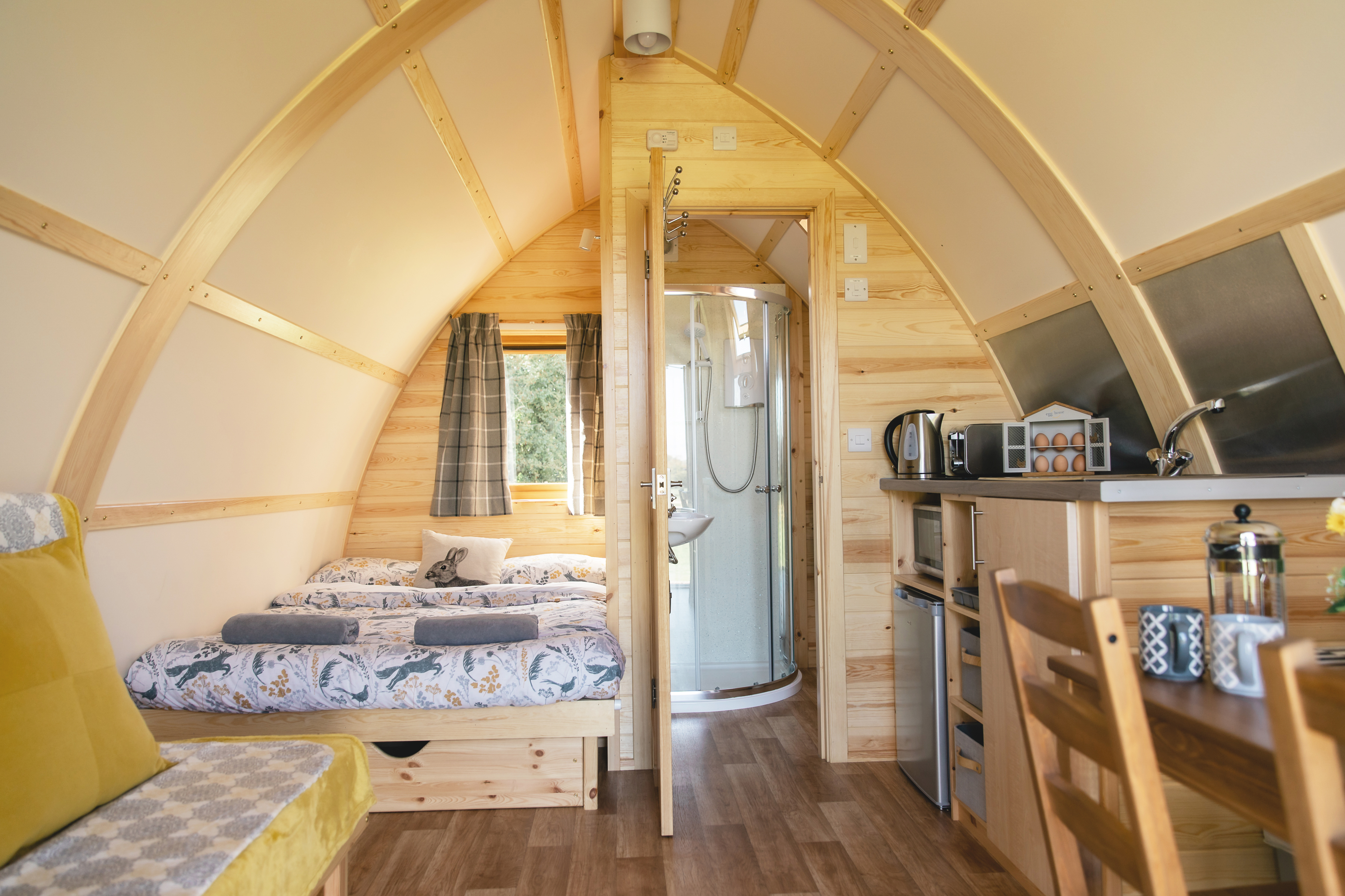 Inside of a running water deluxe cabin