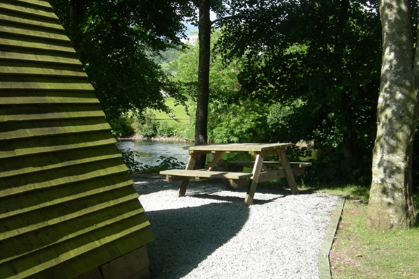 Private picnic area at Braidhaugh Holiday Wigwams
