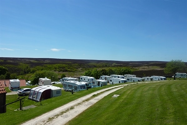 Looking down over the caravans at Grouse Hill Wigwams