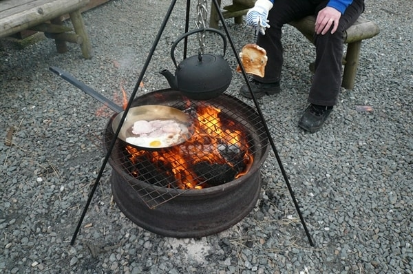Campfire cooking.