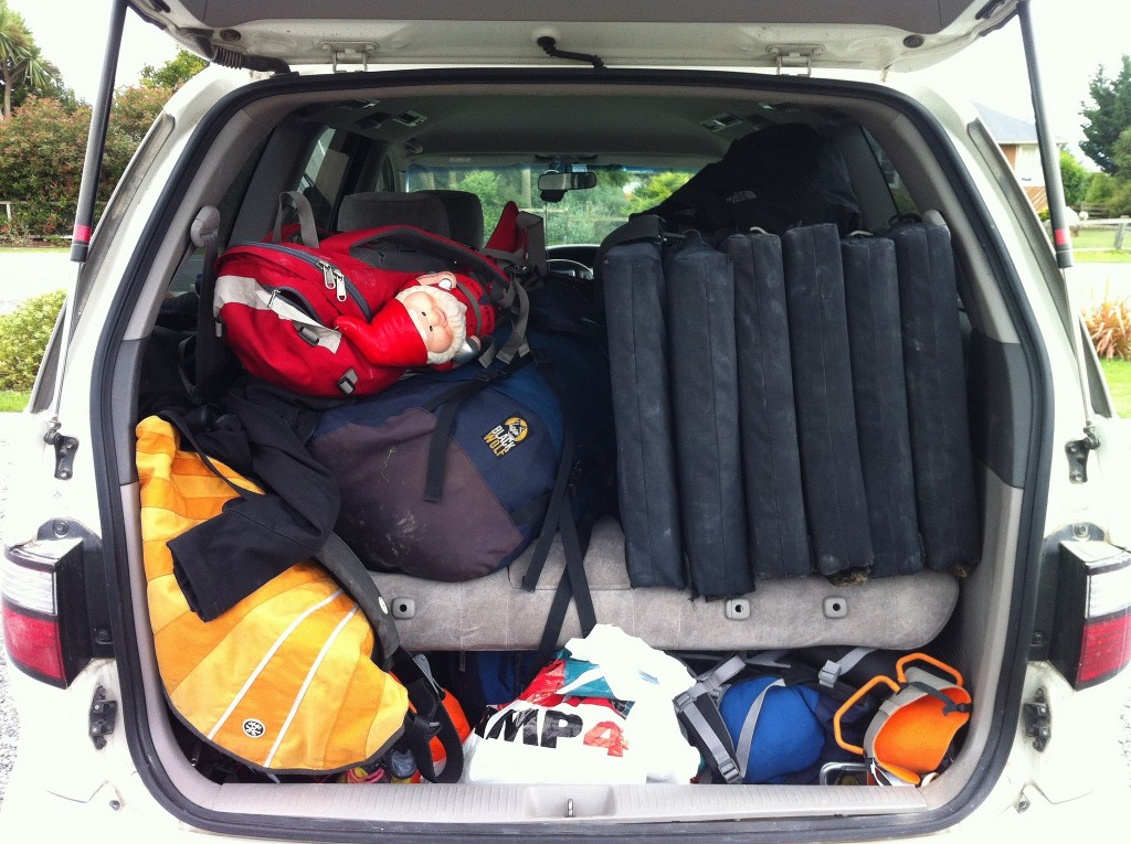 Car packed full to point of bursting.